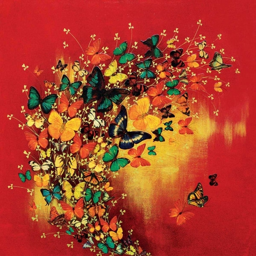 Greenwood, Lily 아티스트의 Butterflies on Red 작품