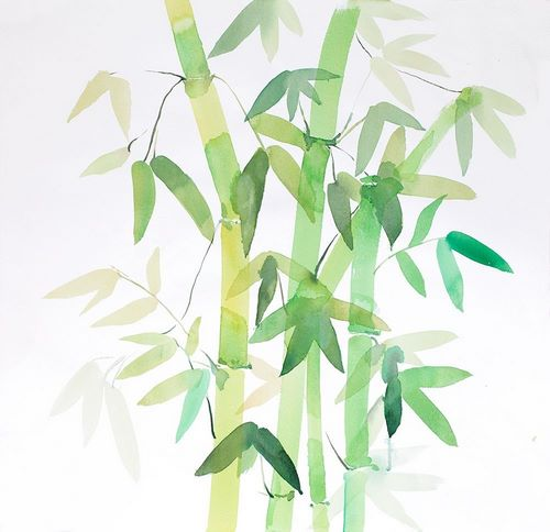 Atelier B Art Studio 아티스트의 WATERCOLOR BAMBOO WITH LEAVES 작품