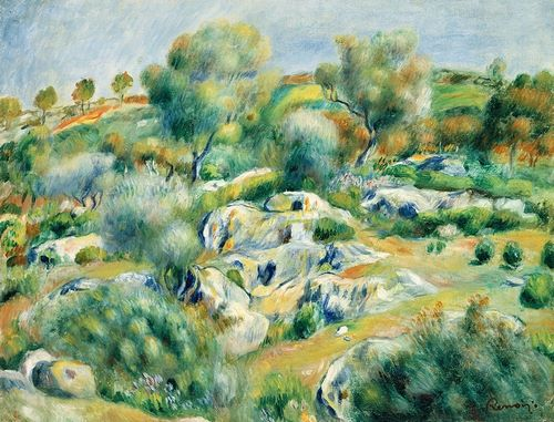 Renoir, Pierre-Auguste 아티스트의 Landscape of Bretagne, Trees and Rocks 작품