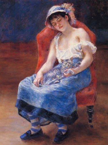 Renoir, Pierre-Auguste 아티스트의 Sleeping Girl With Cat 작품