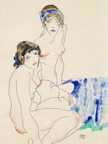 Schiele, Egon 아티스트의 Two Female Nudes by the Water  작품