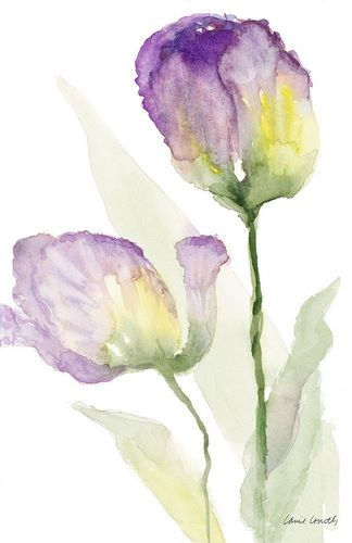Loreth, Lanie 아티스트의 Teal and Lavender Tulips II 작품